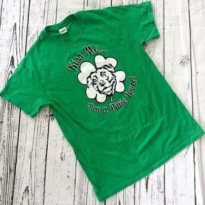 Green good luck clover pit bull lover T-shirt